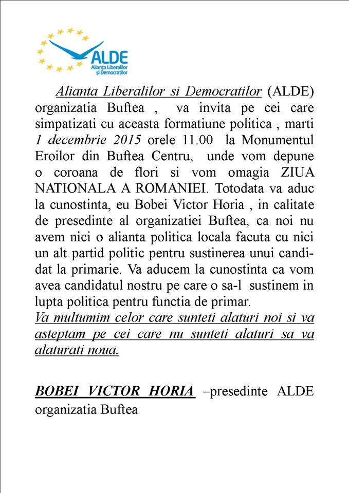Comunicat ALDE Buftea