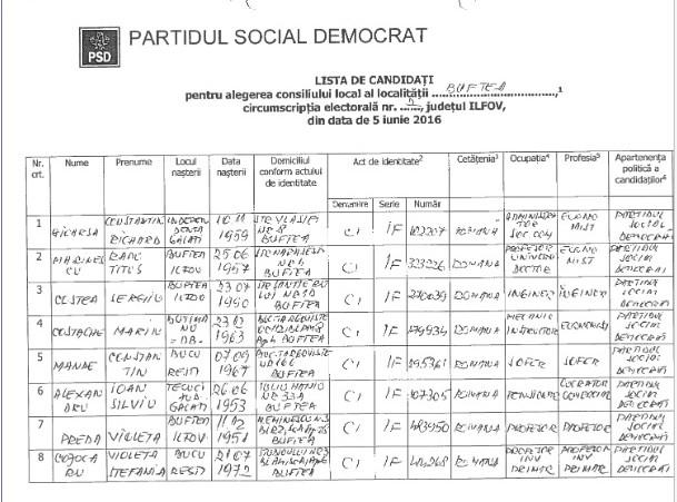 Condidatii PSD pentru functia de consilier local