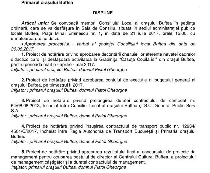 Vineri, ora 15, sedinta Consiliului Local Buftea - iulie 2017