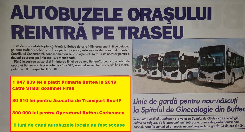 Pistol a vândut transportul local din Buftea către Firea